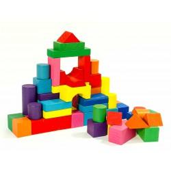 Детский деревянный конструктор (50 крупных ярких деталей)
