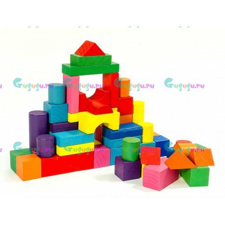 Детский деревянный экологичный конструктор (50 крупных ярких деталей)