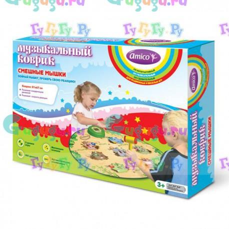 """Музыкальный коврик """"Веселые мышки"""" для детского активного отдыха, 3 уровня сложности, 7 разных мышек"""