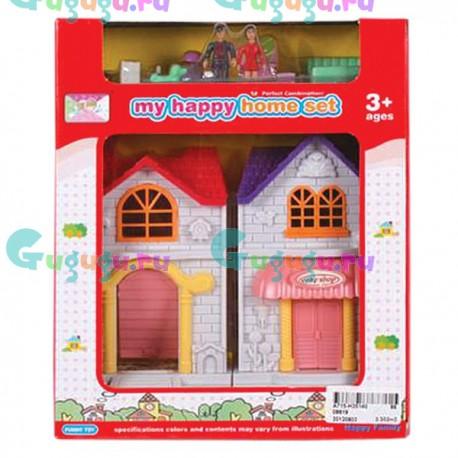 """Игровой набор """"Дом"""" с мебелью и куколками в комплекте, размер 22х18 см"""