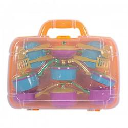 Детский набор посуды в прозрачном пластиковом чемодане для девочек