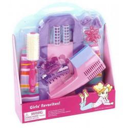 Детский набор маленького парикмахера с сумочкой. В набор входит: расческа, бигуди, фен, заколки и др.