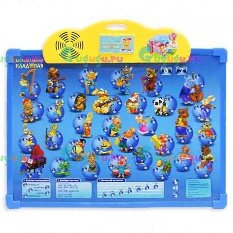 Детский интерактивный обучающий плакат Музыкальная кладовая: 32 инструмента, доска для рисования и магнитный фломастер