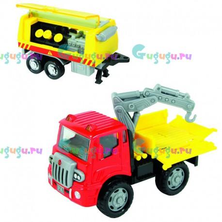 Машинка грузовик пожарный с металлической кабиной, прицепом-помпой с открывающимися люками и инерционным механизмом