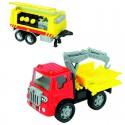 Машинка грузовик пожарный с металлической кабиной и прицепом