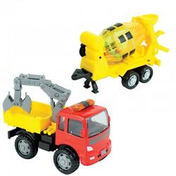 Машинка грузовик строительный с металлической кабиной и прицепом