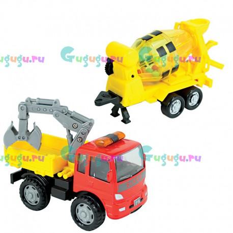 Машинка грузовик строительный с металлической кабиной и вращающимся прицепом-бетономешалкой. Машинка с инерционным механизмом.
