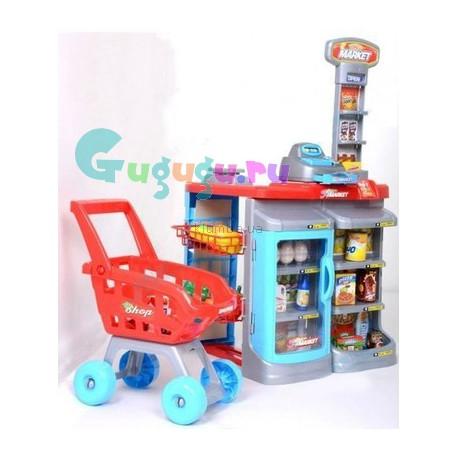Большой детский набор Супермаркет (22 предмета в комплекте): касса, прилавок, холодильник, весы и большой набор продуктов