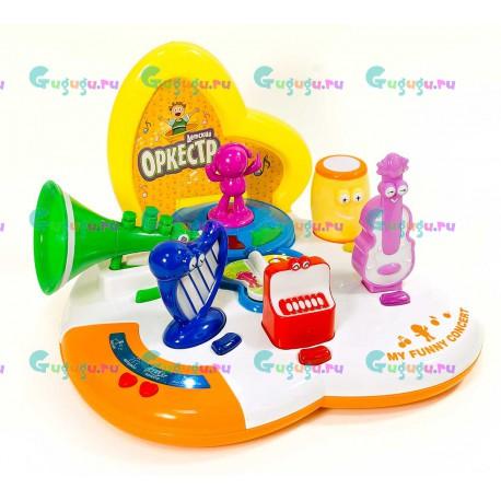 Веселая музыкальная детская игра Веселый оркестр (6 инструментов): арфа, барабан, труба, виолончель, пианино