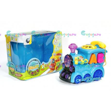 Развивающая игрушка Паровозик-сортер Малыш с набором развивающих функций. Издает звуки и ездит по полу