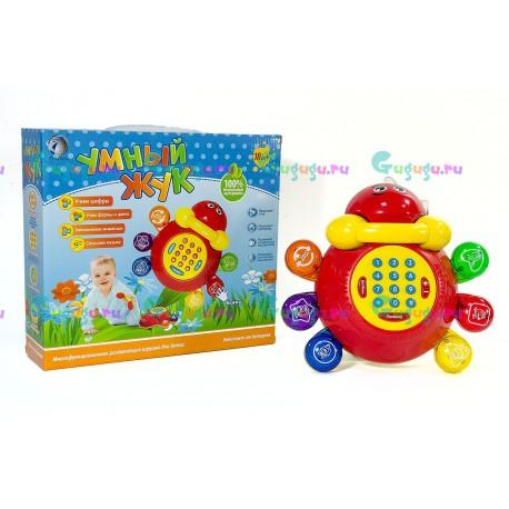 Детский развивающий телефон Умный жук: изучение цифр, букв, цветов и форм. Играет музыку, знакомит с животными