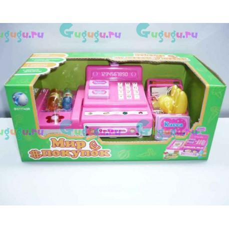 Детский интерактивный кассовый аппарат Мир покупок + набор продуктов, кредитную карточку, деньги