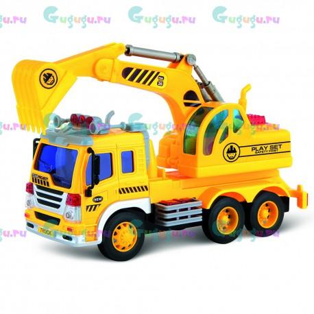 Детский интерактивный грузовик с экскаватором и фрикционным механизмом (свет и звук)