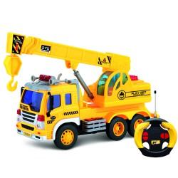 Машина грузовик с подъемным краном на радиоуправлении (свет и звук)