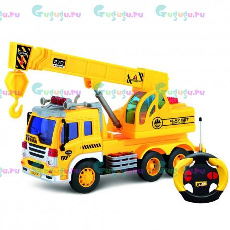 Детская интерактивная машина грузовик с подъемным краном на радиоуправлении со световыми и звуковыми эффектами