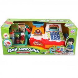 Детский набор электронная касса Мой магазин. с весами, выдвижным ящиком, микрофоном, сканером штрих-кодов