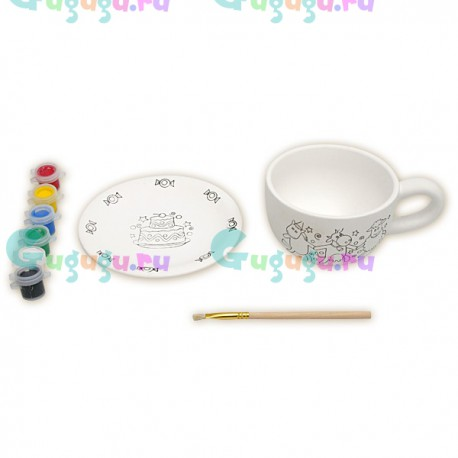 """Набор для росписи керамики красками """"Чайная пара"""". В наборе блюдце, кружка и краски с кисточкой"""