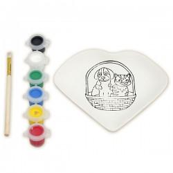 Набор для росписи керамической тарелки: Сердце (краски)