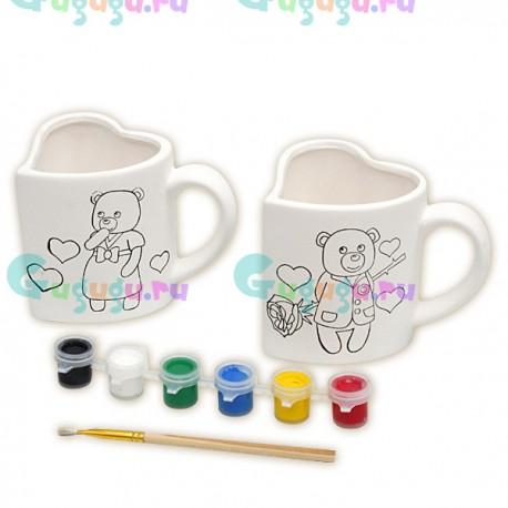 Детский развивающий набор для росписи керамических кружек: 2 сердца