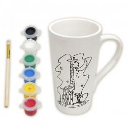 Набор для росписи керамической кружки красками: Жираф