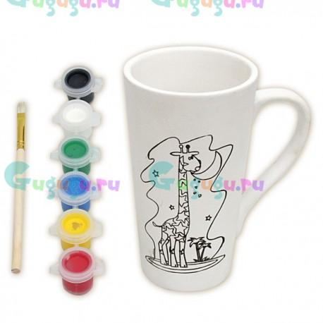 Детский развивающий набор для росписи керамической кружки красками: Жираф