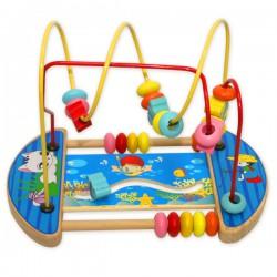 Деревянная игрушка - лабиринт, каталка, счеты
