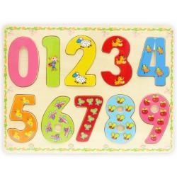 Деревянная игрушка с цифрами-вкладышами