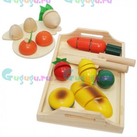 Деревянный развивающий кухонный набор юного поваренка - Овощи
