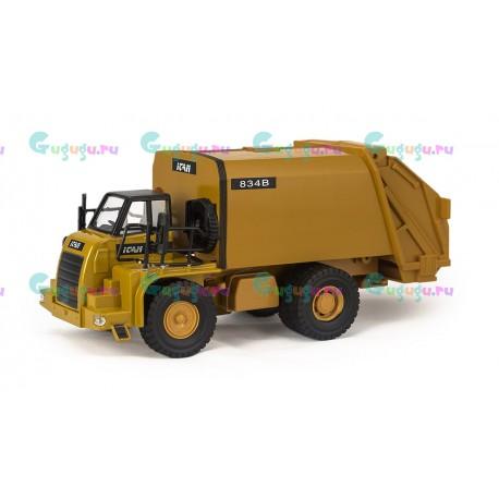 Машина мусоровоз металлическая с откидывающимся кузовом и инерционным мотором (свет, звук)