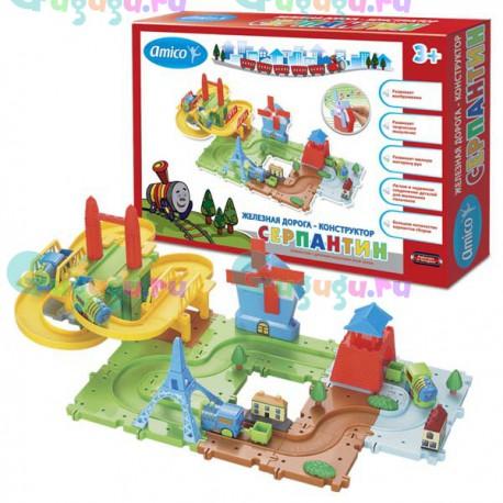 Детская развивающая игрушка железная дорога конструктор Серпантин: Достопримечательности мира