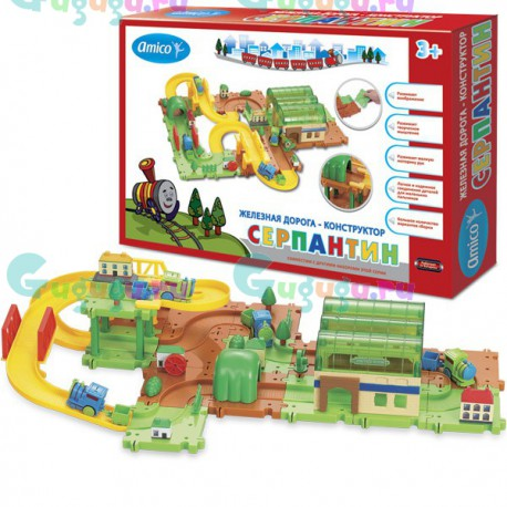 Детская развивающая интерактивная игрушка железная дорога конструктор Серпантин: Локомотивное депо