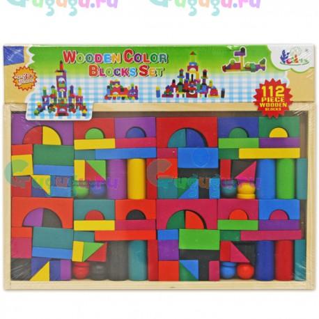 Детская игрушка, Деревянный конструктор из 112 ярких разноцветных деталей