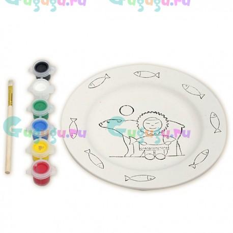 Развивающий набор для росписи керамической тарелки Эскимос и белый мишка (роспись красками)