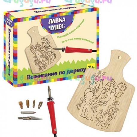 Детский набор для выжигания Гжель, содержит: картину, выжигательный прибор и сменные иглы