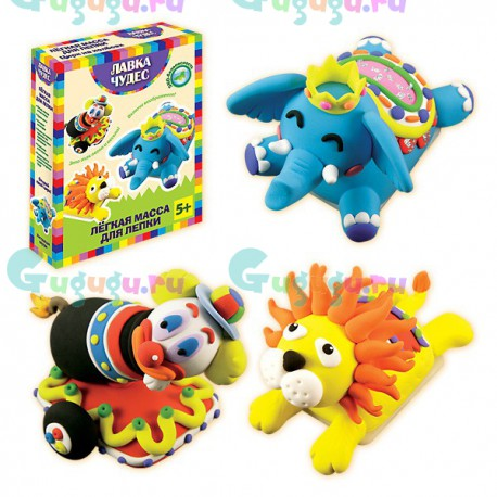 Детское творчество и развитие навыков: Набор для легкой лепки Цирк на колесах (клоун на тележке, лев и слоненок)