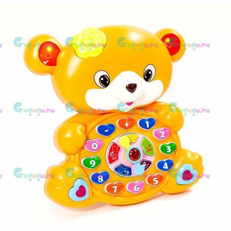 Детская развивающая интерактивная игрушка Весёлый мишка. Обучает малыша цифрам, цветам, животным и геометрическим фигурам