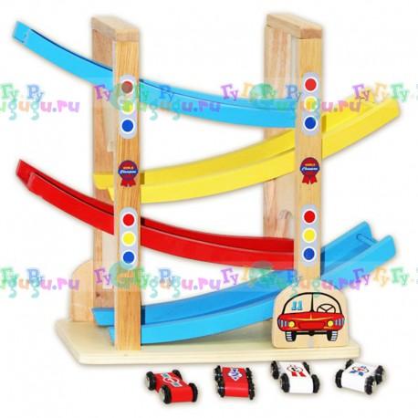 Детская деревянная развивающая игрушка Гоночный серпантин с набором машинок
