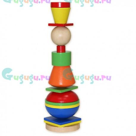 Яркая детская игрушка деревянная развивающая Пирамидка: Человечек