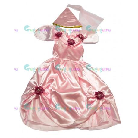 Детский карнавальный костюм для девочек Розовая принцесса для детских праздников (7-9 лет)