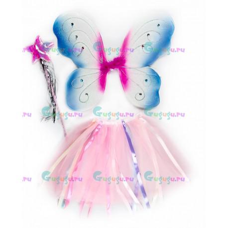 Детский карнавальный костюм для девочек розово-голубой Фея для праздников