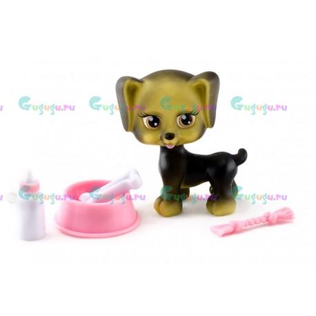 Детская игрушка, собачка Квик - мой любимый питомец с миской, косточкой и соской
