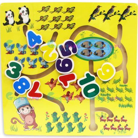 Детская деревянная гипоаллергенная игрушка лабиринт Счет: Животные
