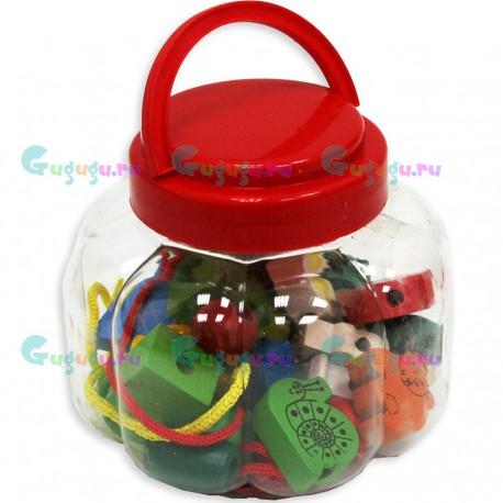 Детская деревянная гипоаллергенная игрушка Шнуровка Бусины в баночке