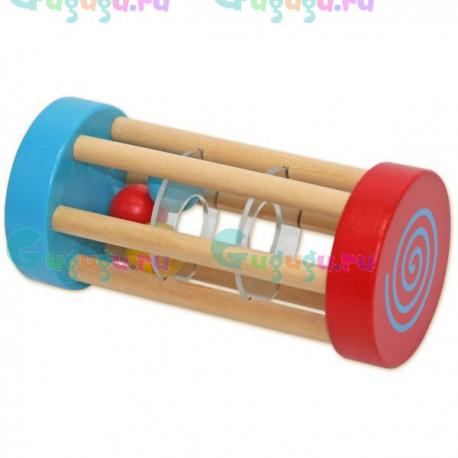 Детская деревянная гипоаллергенная игрушка Погремушка-катушка