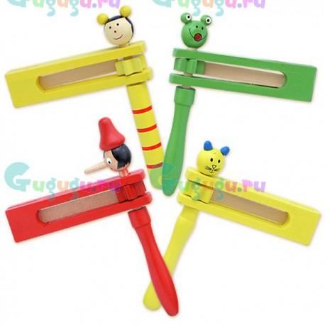 Детская деревянная гипоаллергенная игрушка ЛС Трещотка