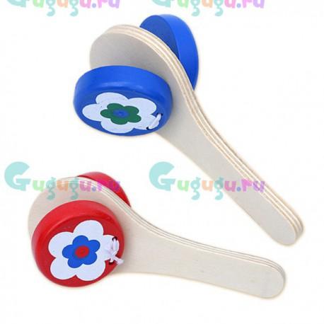 Детская деревянная гипоаллергенная музыкальная игрушка ЛС Кастаньеты