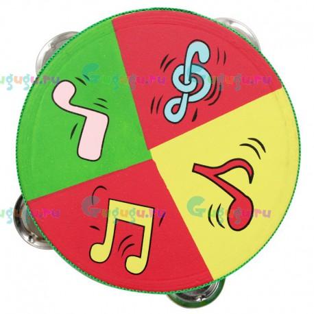 Детская деревянная гипоаллергенная музыкальная игрушка Бубен