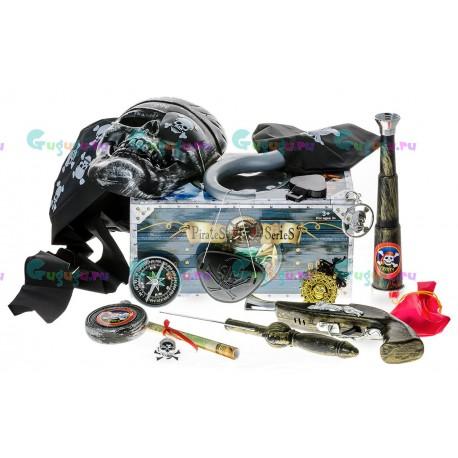 Детский набор Храбрый пират из 16 предметов: пистолет, кортик, бандана, фляга и др.
