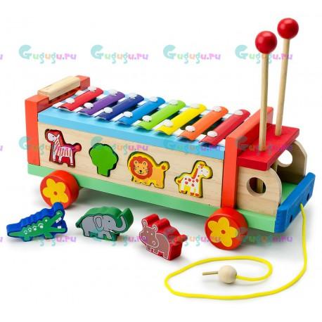 Деревянная развивающая игрушка машинка каталка металлофон