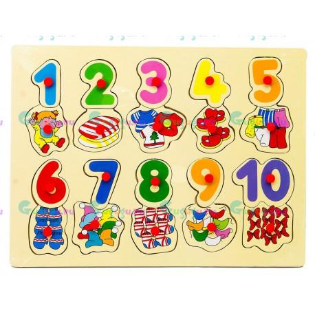 Деревянная развивающая яркая игрушка вкладыши Цифры с одеждой